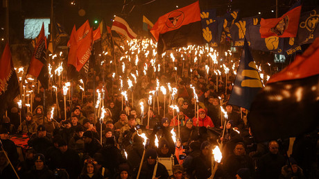 Supporters and members of different far right nationalistic movements and parties at an annual torch march, Kyiv, Ukraine, Jan.1, 2018 © Global Look Press / Sergii Kharchenko