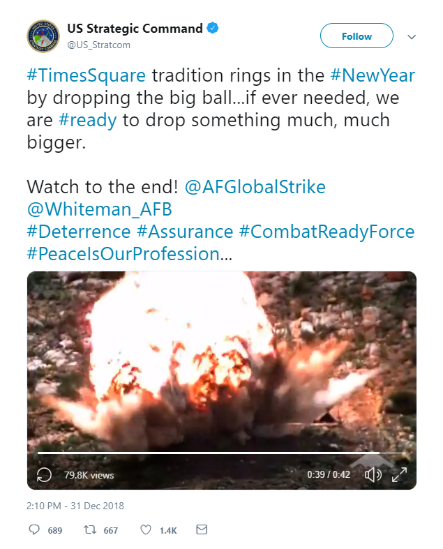 US Strategic Command boasts about its bombs in disturbing New Year message