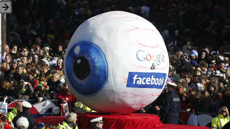 A carnival float with a papier-mache caricature representing Google and Facebook at a parade in Dusseldorf Germany © Reuters / Ina Fassbender