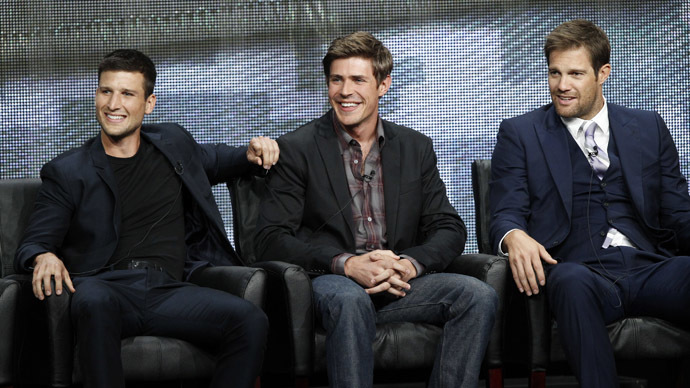 (L-R) Parker Young, Chris Lowell and Geoff Stults (Reuters/Mario Anzuoni)