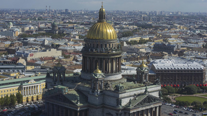 An aerial view of St. Isaac's Cathedral, ahead of the G20 Summit, is seen in St. Petersburg, August 29, 2013. (Reuters/Guneev Sergey)
