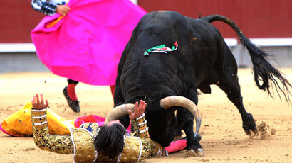 Spanish matador David Mora is gored by a bull during a bullfight of the San Isidro Feria at the Las Ventas bullring in Madrid on May 20, 2014.(AFP Photo / Stringer)