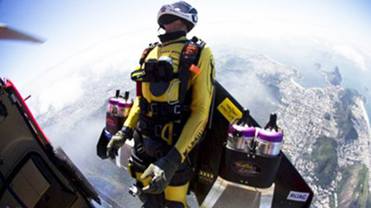 Yves Rossy, known as the Jetman (AFP Photo / Joe Parker)