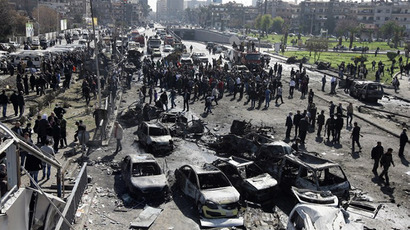 A powerful car bomb explosion in the centre of Damascus on February 21, 2013. (AFP Photo)