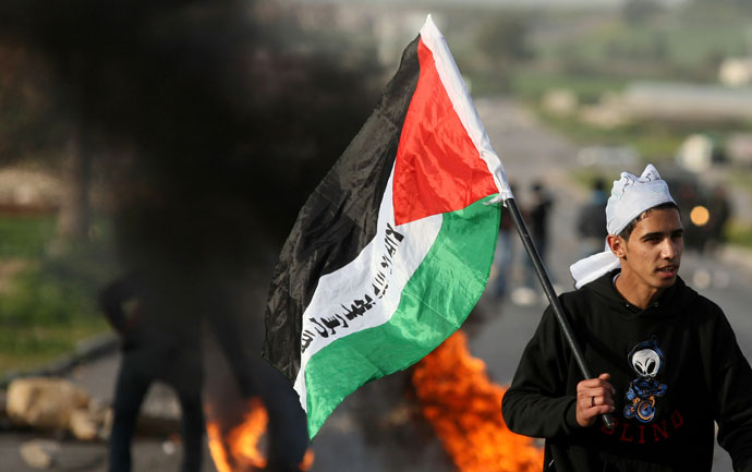 A Palestinian protestor carries the national flag during clashes with Israeli police at the entrance of the Jalama checkpoint, near the West Bank city of Jenin, on February 22, 2013.(AFP Photo / Saif Dahlah)