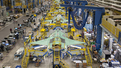 Workers can be seen on the moving line and forward fuselage assembly areas for the F-35 Joint Strike Fighter at Lockheed Martin Corp's factory. (Reuters)