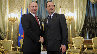 Russian President Vladimir Putin meets in the Kremlin with French President Francois Hollande on his working visit to Russia, 28 February 2013. (RIA Novosti / Alexsey Druginyn)