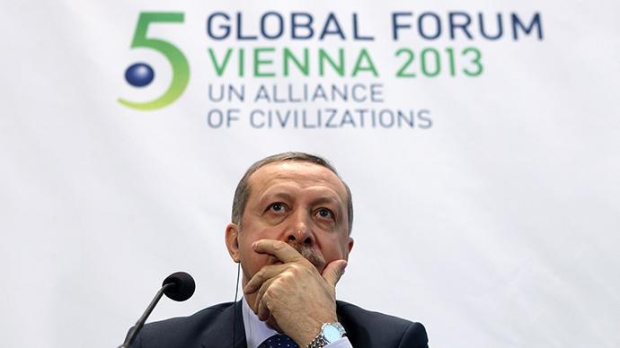 Turkey's Prime Minister Tayyip Erdogan  during a news conference after the opening session of the fifth United Nations Alliance of Civilizations Forum in Vienna February 27, 2013. (Reuters / Heinz-Peter Bader)