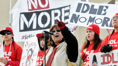 Canadians protest in Edmonton, Alberta against the Keystone XL pipeline on February 17, 2013 (Reuters / Dan Riedlhuber)