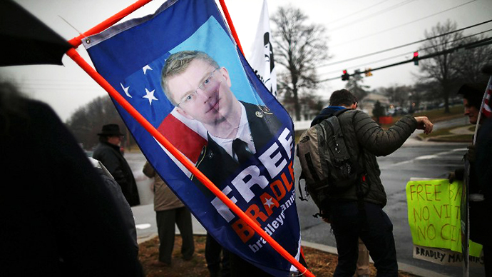Protesters from the Bradley Manning Support Group. (AFP Photo / Mark Wilson)