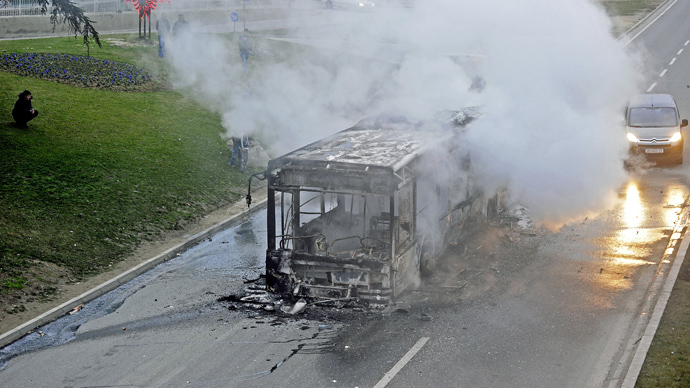 Burned shell of a public bus after a demonstration in Skopje on March 2, 2013 (AFP Photo / Robert Atanasovski)