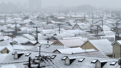 A light dusting of snow covers rooftops across a neighborhood in Tokyo on February 6, 2013.  (AFP Photo/Kazuhiro Nogi)