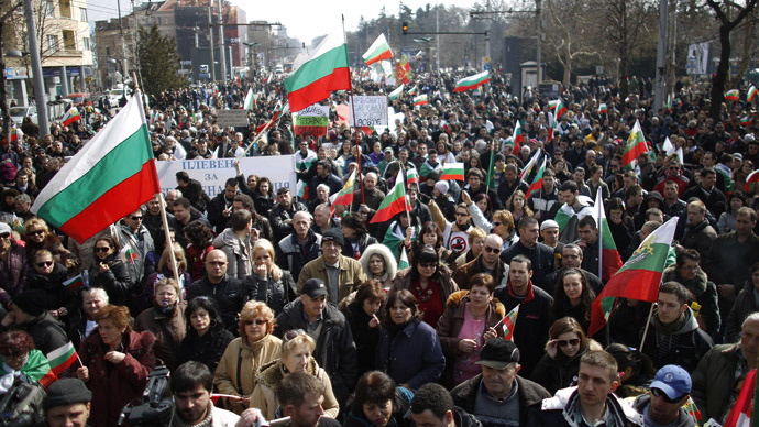 Protestors march on a boulevard during a demonstration in central Sofia March 3, 2013. (Reuters/Stoyan Nenov)