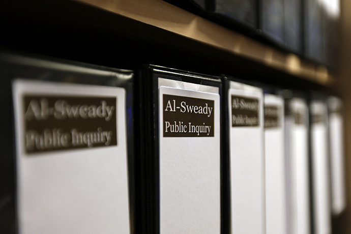 Files are seen at the venue of the Al-Sweady Inquiry is seen on the first day of the inquiry, in central London March 4, 2013. (Reuters / Stefan Wermuth)