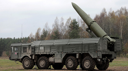 Iskander high-precision missile system in place during military exercises. (RIA Novosti / Alexey Danichev)
