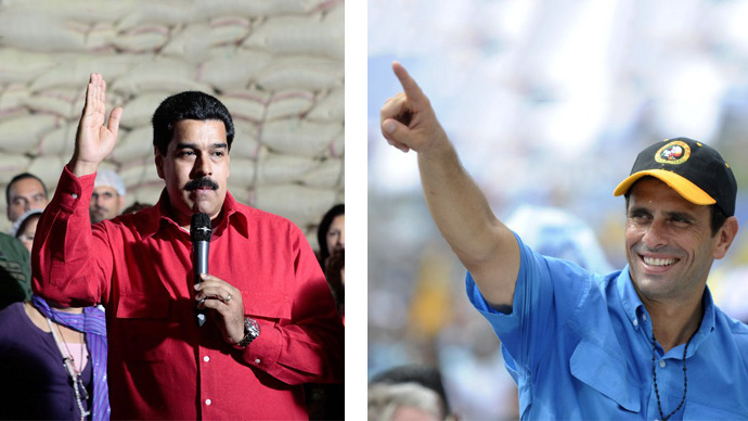 This combination of file pictures shows Venezuelan Vice-President Nicolas Maduro (left) and Venezuelan opposition presidential candidate Henrique Capriles Radonski. (AFP Photo / Leo Ramirez)
