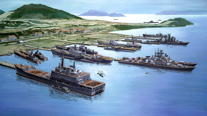 Artist's concept of ships in port at Cam Ranh Bay, Vietnam. (Image from en.wikipedia.org)