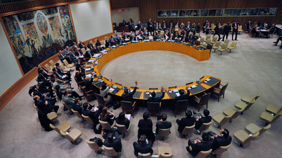 UN Security Council members vote to adopt sanctions against North Korea at the United Nations headquarters in New York, March 7, 2013 (AFP Photo / Emmanuel Dunand)