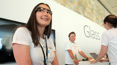 A Google employee wears Glass at Google's Developers Conference. (AFP Photo / Mathew Sumner)