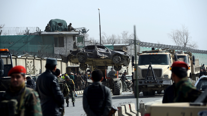 Suicide blast near Afghan Defense Ministry amid Hagel visit, 9 civilians dead