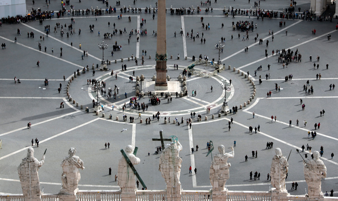 Saint Peter's Square is seen from the dome of Saint Peter's Basilica at the Vatican March 11, 2013 (Reuters / Eric Gaillard)