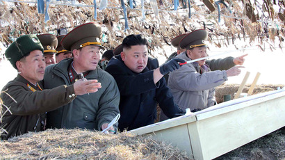 North Korean leader Kim Jong Un (C) inspecting the Wolnae Islet Defence Detachment in North Korea's western sector near the disputed maritime frontier with South Korea (AFP Photo / KCNA via KNS)