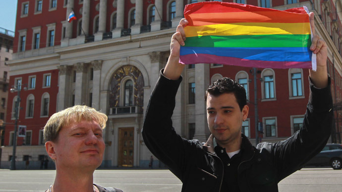Gay activists stage the unauthorized Moscow Gay Pride 2011 rally. (RIA Novosti/Andrey Stenin)