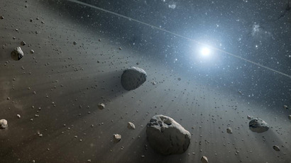 This artist's concept illustrates an asteroid belt. (NASA/JPL-Caltech)
