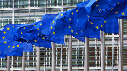 European Union flags are seen outside the European Commission headquarters in Brussels.(Reuters / Yves Herman)