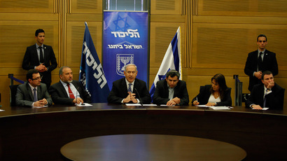 Israeli Prime Minister Benjamin Netanyahu chairs the Likud-Beiteinu faction meeting at the Knesset (Israel's Parliament) on March 14, 2013 in Jerusalem (AFP Photo / Gali Tibbon)