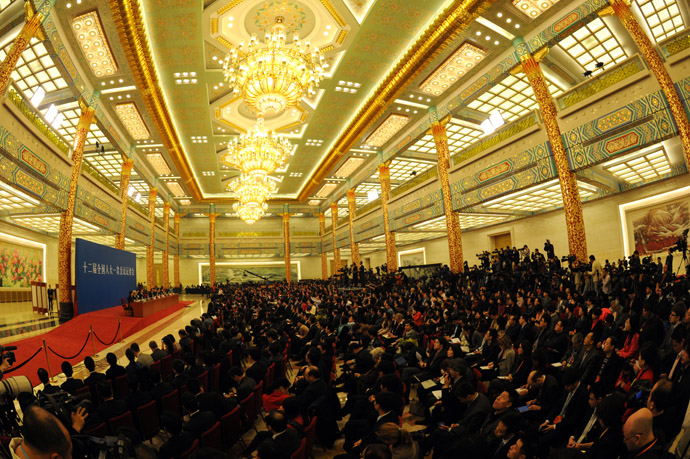 A general view of the press conference by new Chinese Premier Li Keqiang after the closing session of the National People's Congress (NPC) at the Great Hall of the People in Beijing on March 17, 2013. (AFP Photo/Mark Ralston)