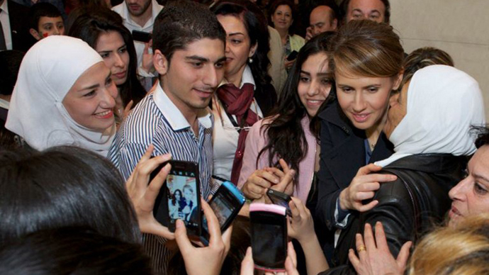 No retreat: Asma Assad, wife of Syrian President, appears in public