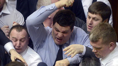 Parliament punch-up: Ukrainian nationalists slammed by opposition for inspiring crisis in southeast