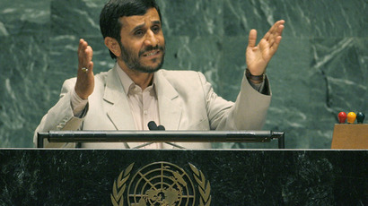 Mahmoud Ahmadinejad addresses the 61st General Assembly of the United Nations in New York September 19, 2006 (Reuters / Ray Stubblebine)