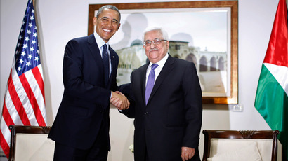Barack Obama participates in a bilateral meeting with Palestinian President Mahmoud Abbas (R) at the Muqata Presidential Compound in Ramallah March 21, 2013 (Reuters / Jason Reed)