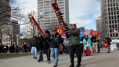 A group of Native Americans and supporters demonstrate in support of the 'Idle No More' First Nations Canadian movement in downtown Detroit, Michigan (Reuters / Rebecca Cook)