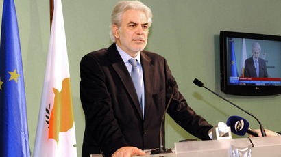 Government Spokesman, Mr Christos Stylianides delivering a statement on March 22, 2013 in Nicosia. (AFP Photo / PIO / Christos Avraamides)