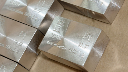 Platinum bar - finished produce of the Krastsvetmet non-ferrous metal plant, one of the world leaders of precious metal industry, based in Krasnoyarsk, Siberia (RIA Novosti/Vitaliy Bezrukih)