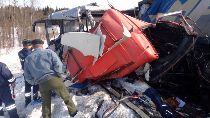 6 killed, 23 injured as bus carrying children crashes in central Russia