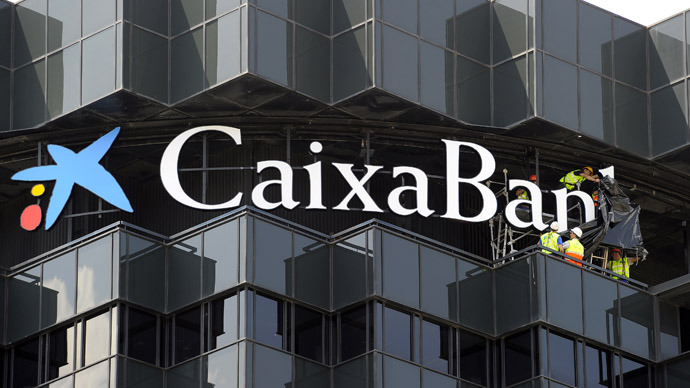 "logo of the ""CaixaBank""  (AFP Photo/Lluis Gene)"