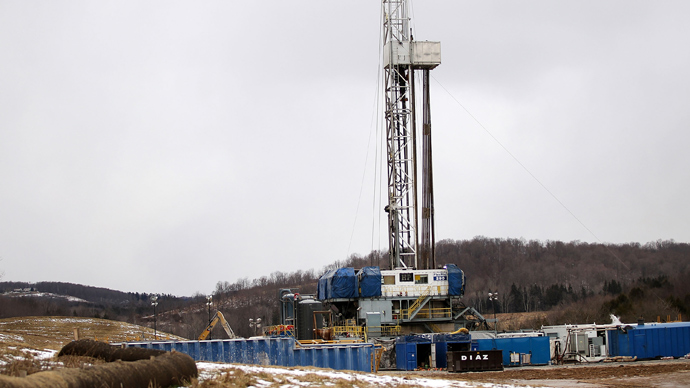 A Cabot Oil and Gas natural gas drill stands at a hydraulic fracturing site  in South Montrose, Pennsylvania (AFP Photo /  Spencer Platt)