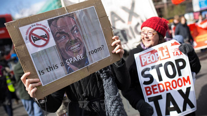 Thousands protest UK's 'bedroom tax' (PHOTOS)