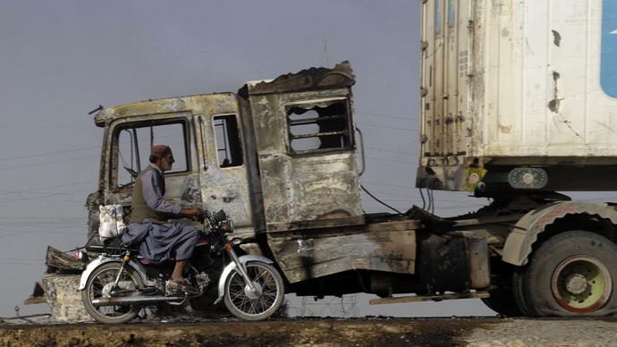 Pakistan-bound NATO trucks set ablaze after leaving Afghanistan