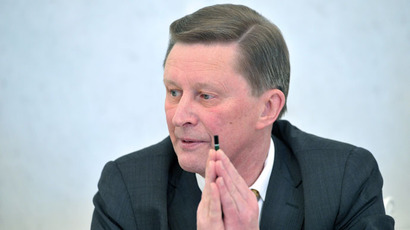 Head of the Russian Presidential Administration Sergei Ivanov meets with journalists in the Kremlin.(RIA Novosti / Aleksey Nikolskyi)