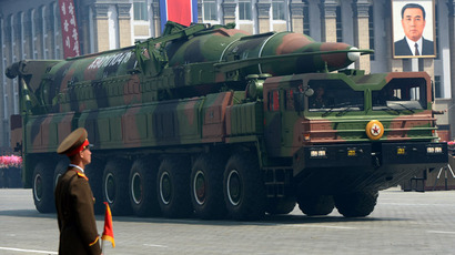A North Korean missile Taepodong class is displayed during a military parade to mark 100 years since the birth of the country's founder Kim Il-Sung in Pyongyang (AFP Photo)