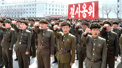 North Koreans attend a rally against the U.S. and South Korea in Nampo, North Korea, April 3, 2013, in this picture released by the North's official KCNA news agency in Pyongyang on Wednesday. (Reuters/KCNA)