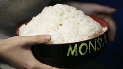 A Greenpeace activist holds a bowl of rice to protest in the lobby of a building where Monsanto, a U.S.-based multinational agricultural biotechnology corporation, has its office (Reuters)