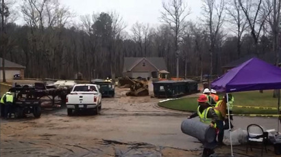 Still from Chris Harrell's video of oil clean-up site in Arkansas on March 4, 2013