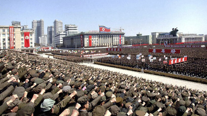 This photo taken and released by North Korea's official Korean Central News Agency (KCNA) on March 29, 2013 shows a gathering at Kim Il Sung Square in Pyongyang. (AFP Photo / KCNA via KNS)
