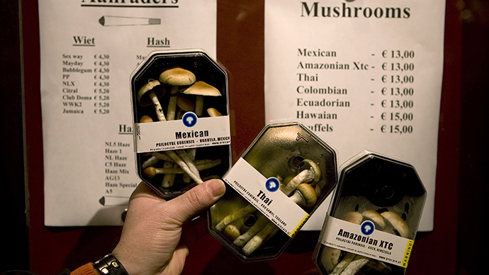 Boxes containing magic mushrooms are displayed at a coffee and smart shop in Rotterdam. (Reuters / Jerry Lampen)